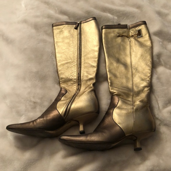Gucci Shoes | Womens Gold Gucci Boots